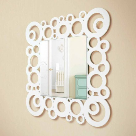 White Square Wall Mirror Modern Design with Wooden Decorations - Bubble