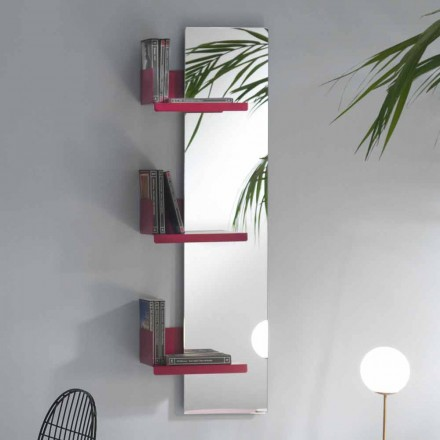 Wall Mirror and 3 Luxury Design Colored Metal Shelves - Noelle