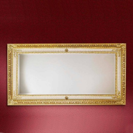 Rectangular wooden wall mirror, produced in Italy, Raffaello