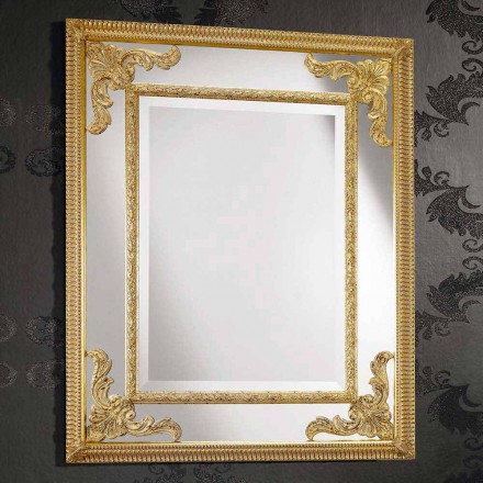 Rectangular wall mirror in wood, produced in Italy, Valentino