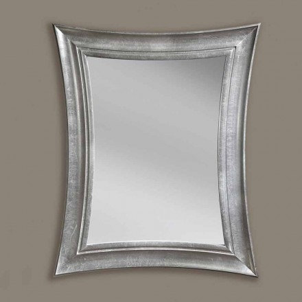 Sandro handmade rectangular wood wall mirror, produced in Italy