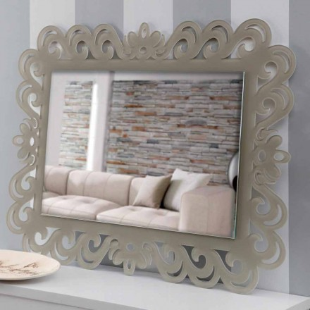 Modern Design Rectangular Wall Mirror in Plexiglass Tortora - Selly