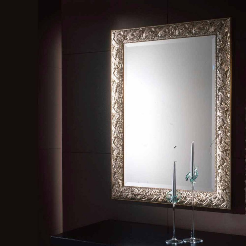 Baroque mirror in fir wood with Eleanor bevelled mirror