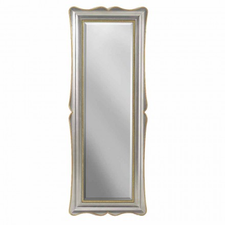 Silver, ivory and gold wood wall mirror, made in Italy, Vittorio