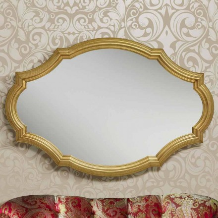 Modern silver/gold wall mirror made of wood, produced in Italy Davide
