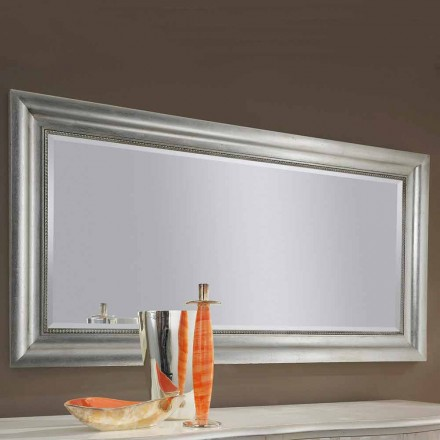 Handmade gold/silver wood wall mirror, produced in Italy Alessandro