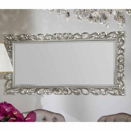 Modern wall mirror handmade of wood, produced in Italy, Mattia