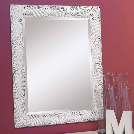 Gold, white, silver wall mirror in wood, Eugenio, produced in Italy