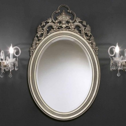 Handmade silver/gold oval wall mirror, produced in Italy, Giorgio