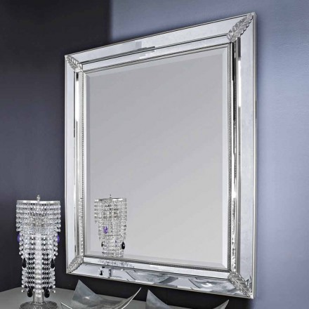 Silver/gold wall mirror in wood, completely handmade in Italy, Samuele