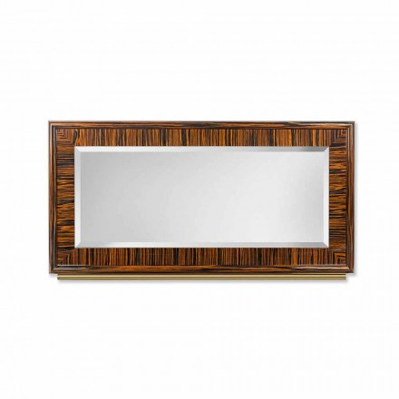 Wall mirror Ada 1, made of glossy ebony & metal, with bevelled edges