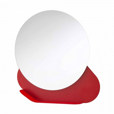 Wall Mirror with Metal Shelf in Various Colors Made in Italy - Hera