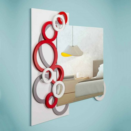 White Red Gray Modern Design Wall Mirror in Wood - Illusion