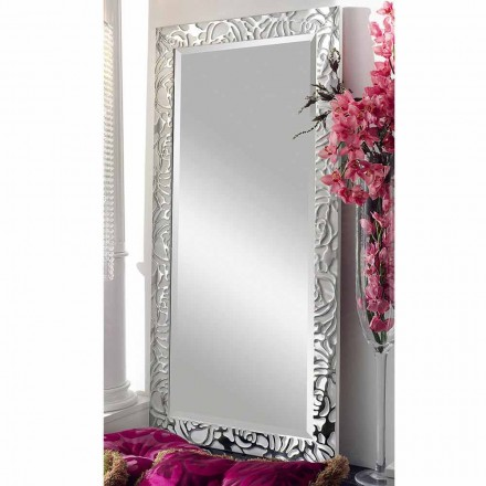 Modern design wooden wall mirror, produced in Italy, Augusto