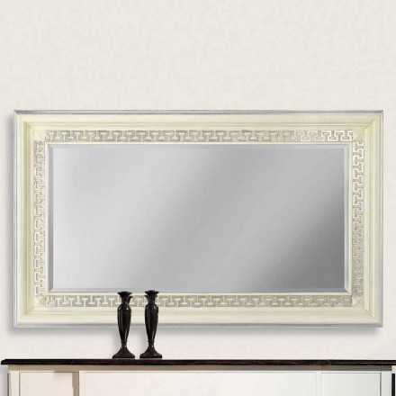 Wall mirror made of ayous wood, completely produced in Italy, Maicol