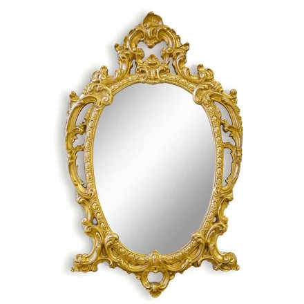 Oval wall mirror handmade of wood, produced in Italy, Roberto