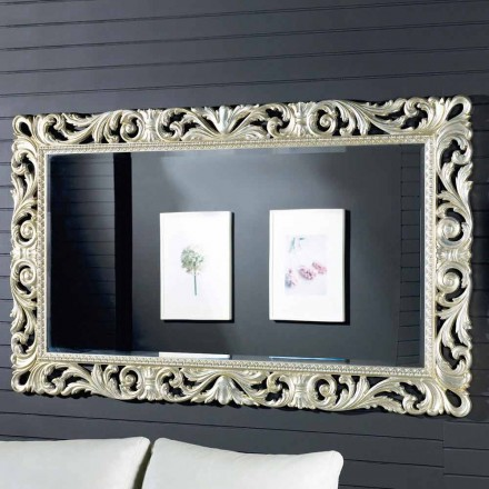 Modern design wall mirror in ayous wood, made in Italy, Nicola