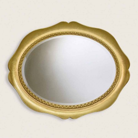 Wall mirror in ayous wood, completely handmade in Italy, Franco