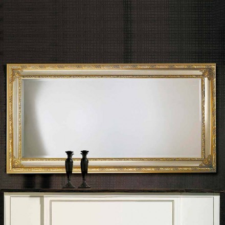 Modern wall mirror in ayous wood, produced in Italy, Armando
