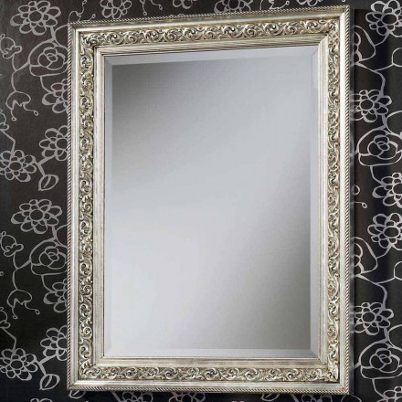 Modern wall mirror in wood, completely handmade in Italy, Piero