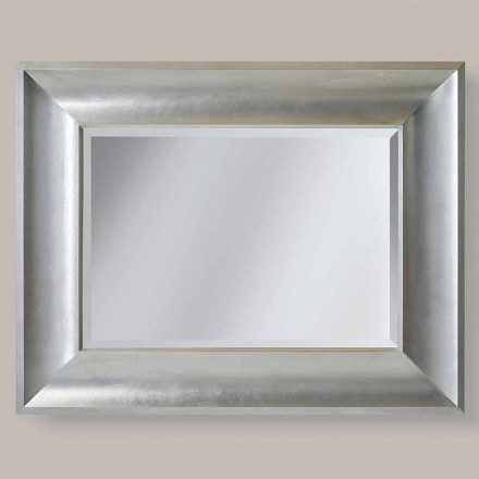 Gold/silver wall mirror in ayous wood, made in Italy, Silvio