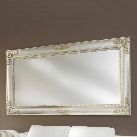 Wall mirror handmade of ayous wood, produced in Italy, Alessio