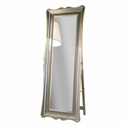 Ayous wood floor mirror with pedestal, produced in Italy, Jonni