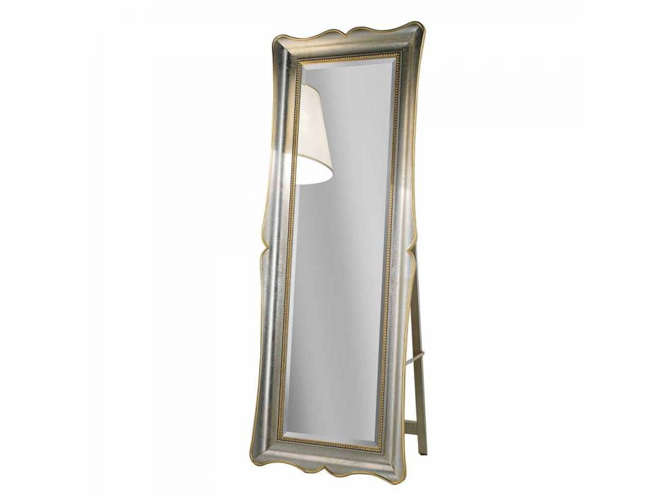 Fir wood floor mirror with pedestal made in Italy Jonni