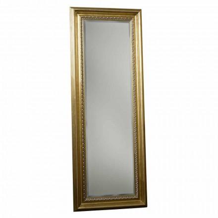 Wooden floor mirror with pedestal, handmade in Italy, Leonardo