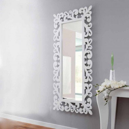 Large Rectangular Design Wall Mirror in Modern White Wood - Cortese