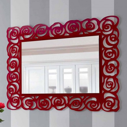 Large Modern Wall Mirror in Red Plexiglass - Rosalinda
