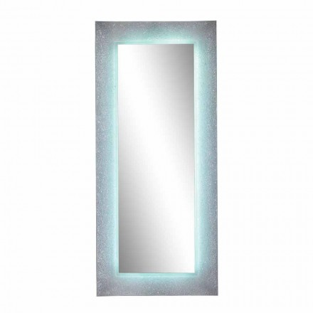 Rectangular Mirror with LED Light and Pavè Effect Frame Made in Italy - Astro