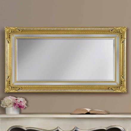 Modern hand-made ayous wood wall mirror, made in Italy, Carlo