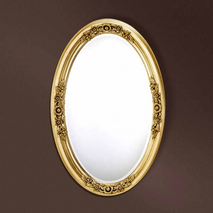 Modern oval mirror handmade of wood, produced in Italy, Federico