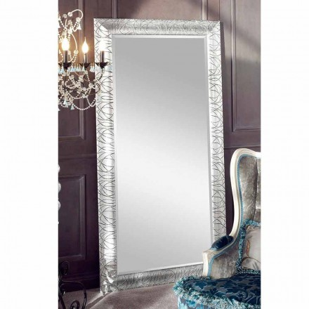 Rectangular wall mirror made of fir wood, produced in Italy, Achille