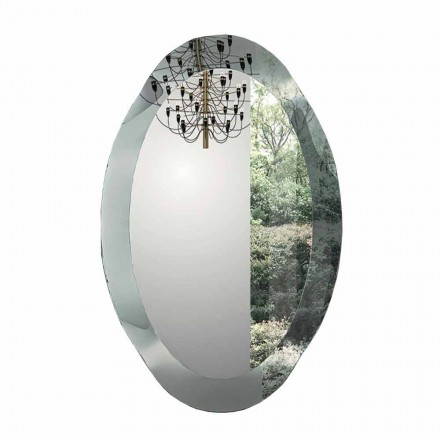 Oval Wall Mirror in Crystal Waved Glass Made in Italy - Eclisse