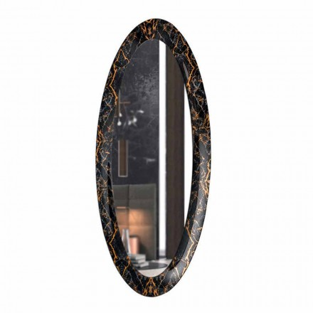 Long Oval Wall Mirror with Marble Effect Frame Made in Italy - Denisse
