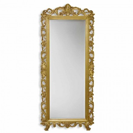 Gold/silver wall mirror in ayous wood, handmade in Italy, Francesco