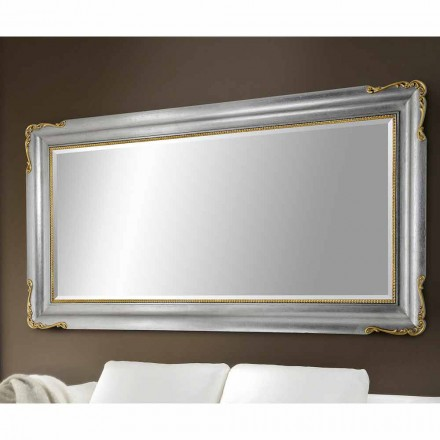 Wall mirror handmade of wood, completely produced in Italy, Cristian