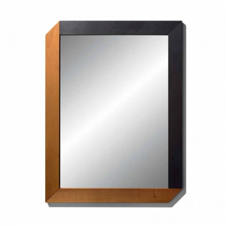 Rectangular Mirror with Wooden Frame of Made in Italy Design - Cira