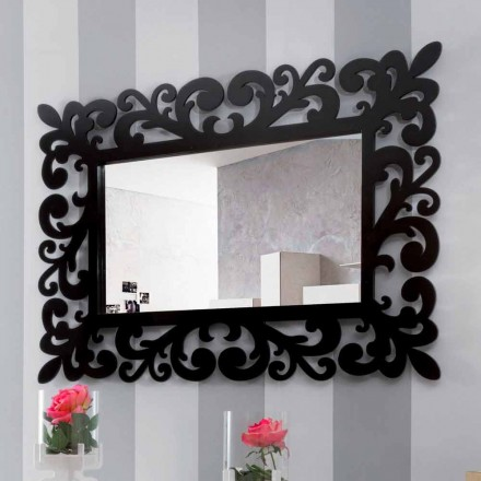 Large Modern Design Rectangular Wall Mirror in Black Wood - Manola