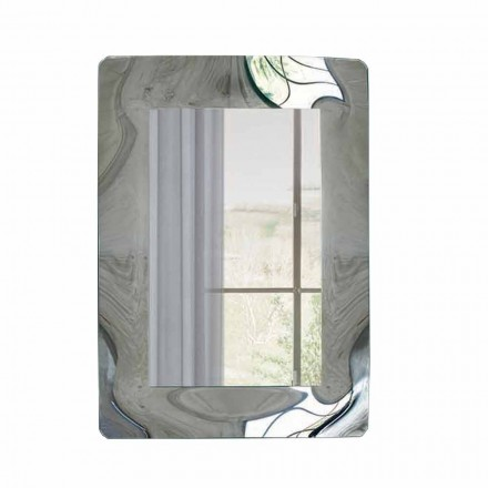 Rectangular Mirror with Corrugated Glass Frame Made in Italy - Vira