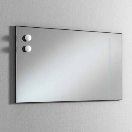 Bathroom Wall Mirror with 2 Lamps and Black Frame Made in Italy - Frame