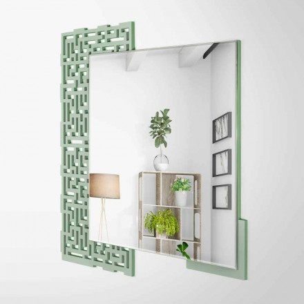 Modern Square Design Wall Mirror in Decorated Green Wood - Labyrinth