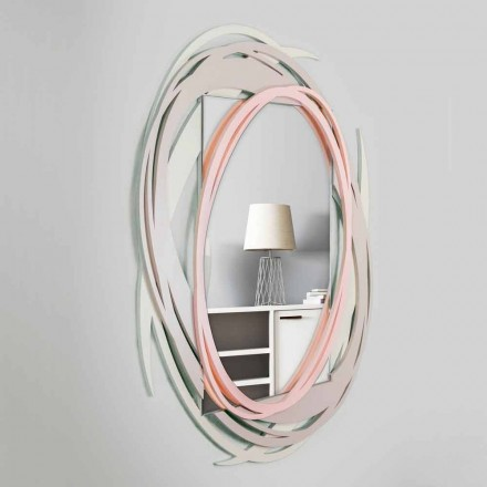 Modern Wall Mirror with Decorative Design in Colored Wood - Orbit