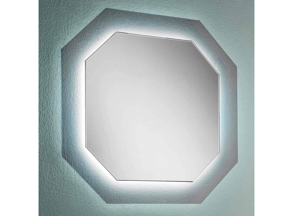 Modern Design Wall Mirror with Glass Frame and Integrated Led - Vitozzo