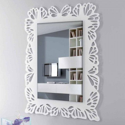 White Plexiglass Wall Mirror with Decorated Rectangular Frame - Alidifarf