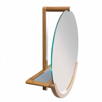 Design bathroom wall mirror with bamboo frame Gorizia