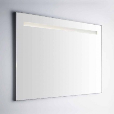 Wall Bathroom Mirror with Frame in Simil Aluminum Made in Italy - Tobi