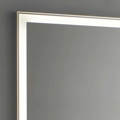 Bathroom Mirror in Imitation Aluminum with Backlight Made in Italy - Palau